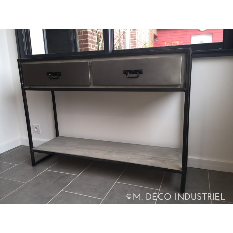 Meuble industriel console m d co industriel for Meuble console