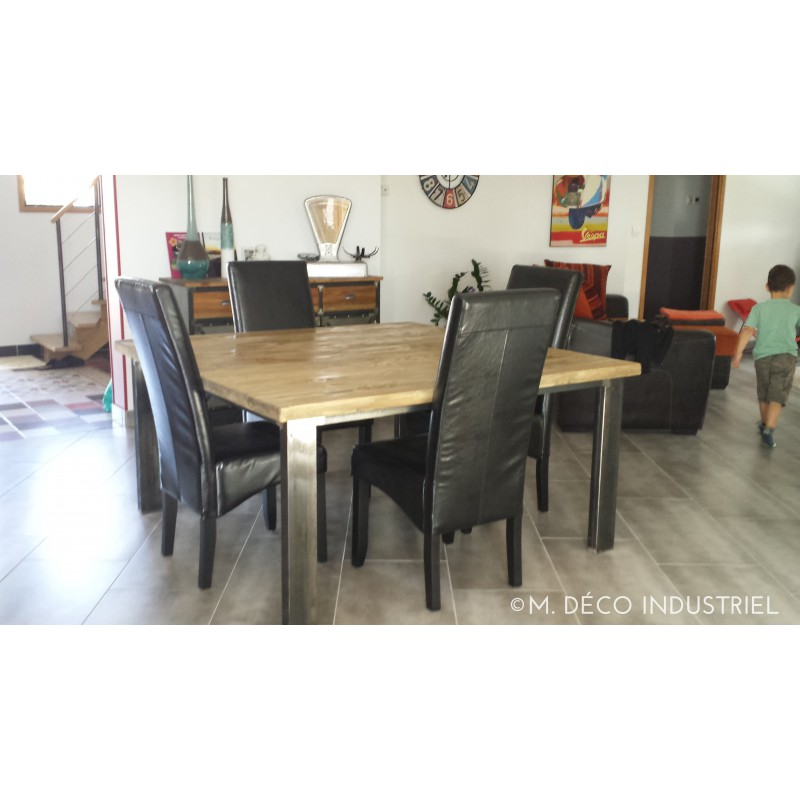 table salle a manger style industriel maison design. Black Bedroom Furniture Sets. Home Design Ideas