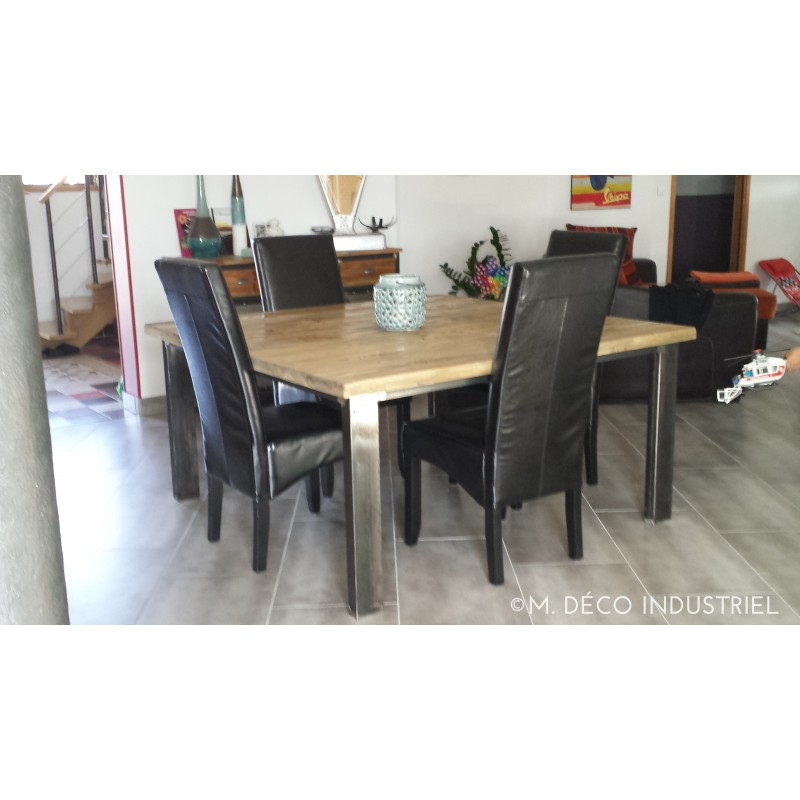 table de salle manger 4 pieds m tal sapin massif m. Black Bedroom Furniture Sets. Home Design Ideas