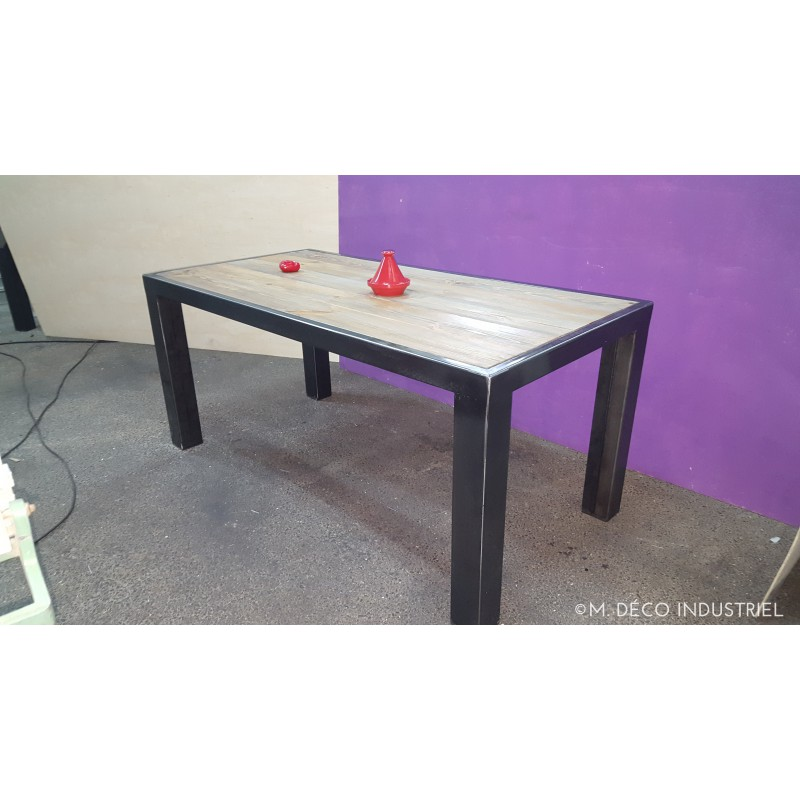 meuble industriel table de salle manger avec rallonge. Black Bedroom Furniture Sets. Home Design Ideas