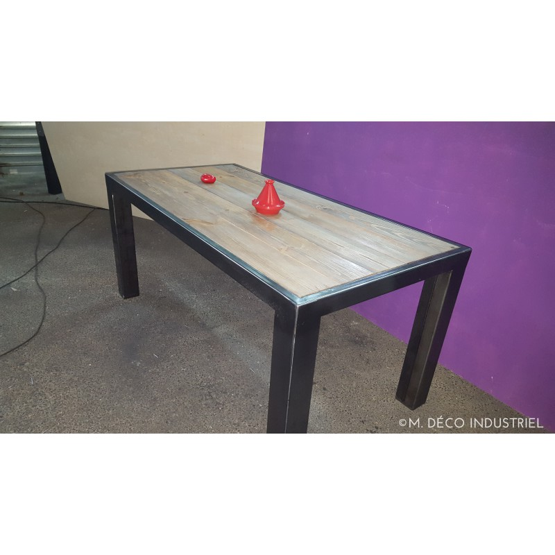 Table salle a manger style industriel for Table salle a manger escamotable