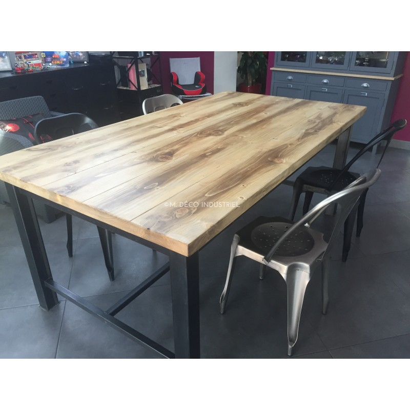 meuble industriel table de salle manger avec tiroir m d co industriel. Black Bedroom Furniture Sets. Home Design Ideas