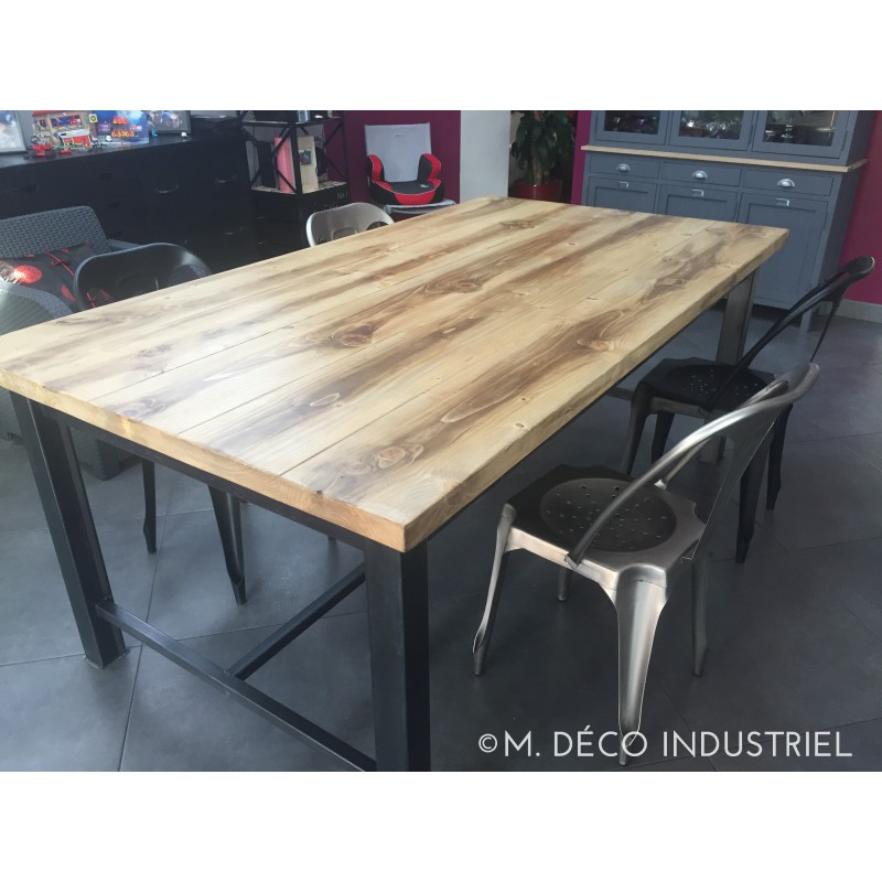 meuble industriel table de salle manger avec tiroir m. Black Bedroom Furniture Sets. Home Design Ideas