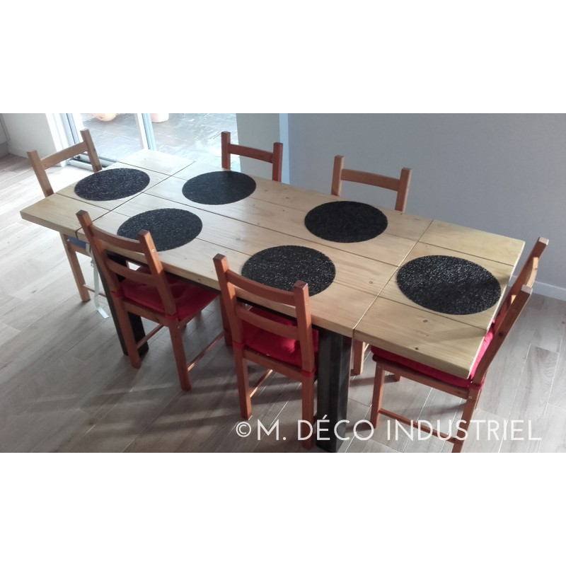 meuble industriel table de salle manger acier et bois. Black Bedroom Furniture Sets. Home Design Ideas