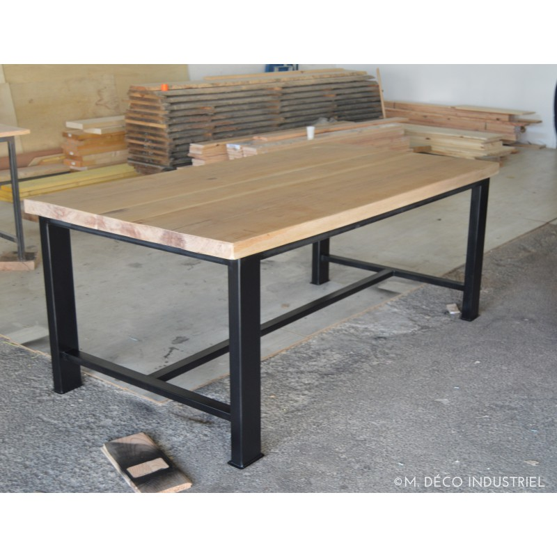 Table bois et metal salle manger for Table a manger rabattable