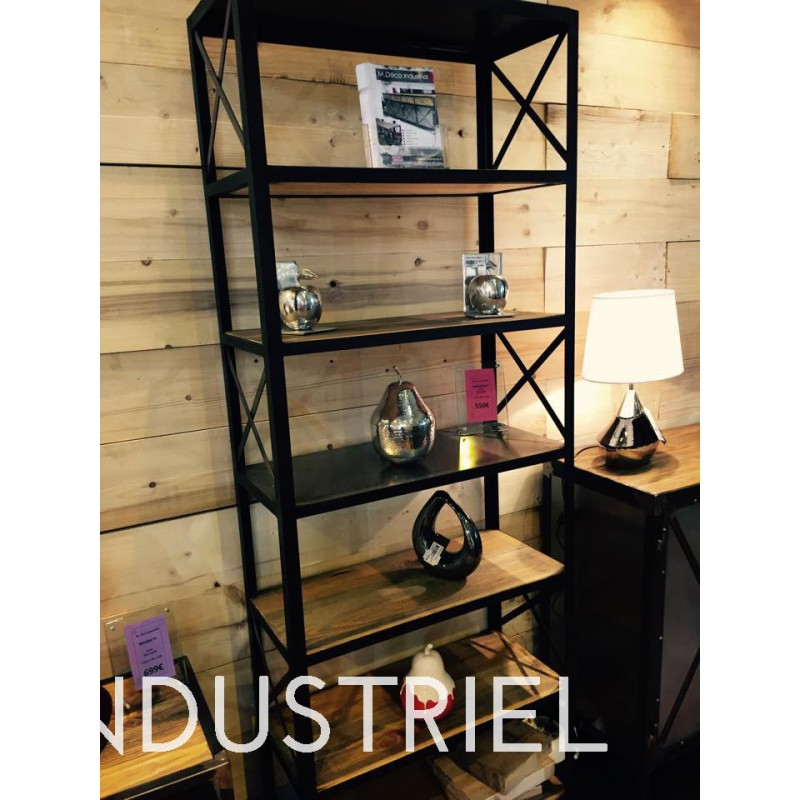 meuble industriel biblioth que m d co industriel. Black Bedroom Furniture Sets. Home Design Ideas