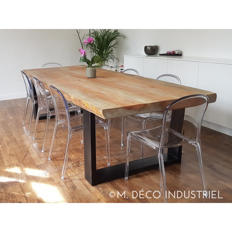 Meuble industriel table de salle manger en pin massif 8 for Meuble table a manger