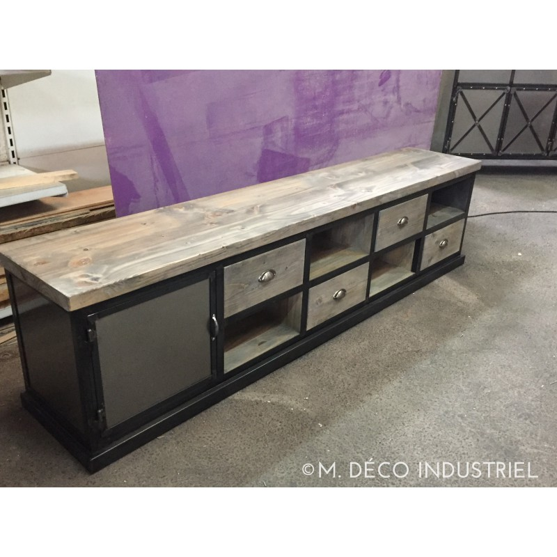 meuble industriel tv acier et bois 4 tiroirs m d co industriel. Black Bedroom Furniture Sets. Home Design Ideas