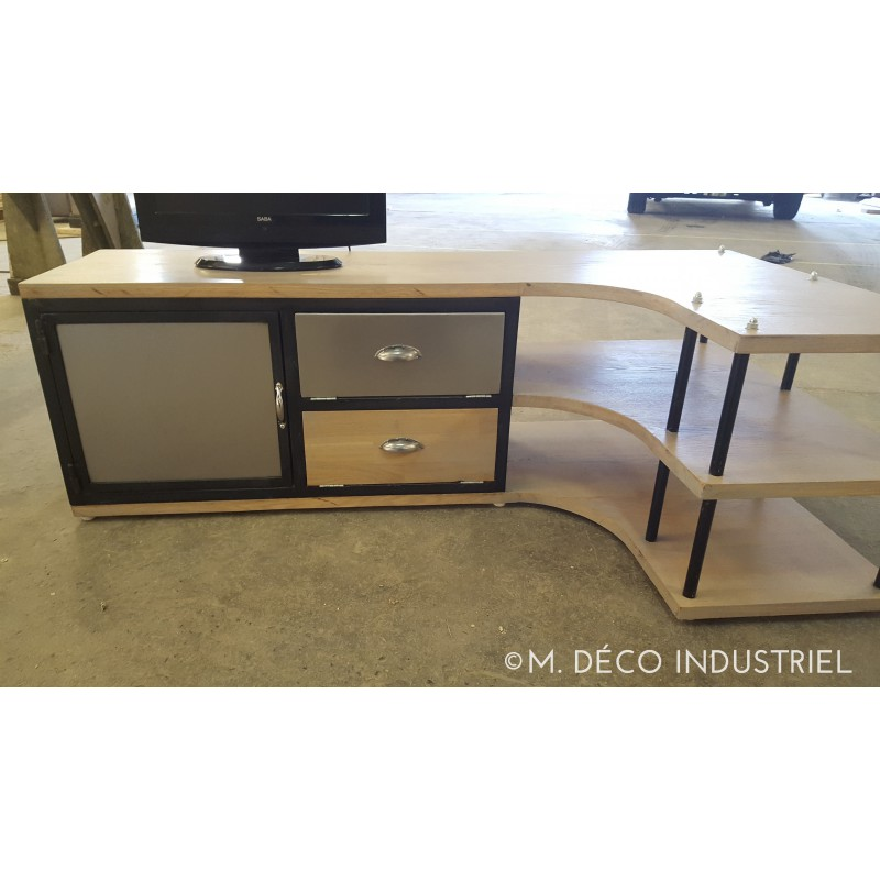 meuble industriel tv d 39 angle en acier et ch ne massif m d co industriel. Black Bedroom Furniture Sets. Home Design Ideas