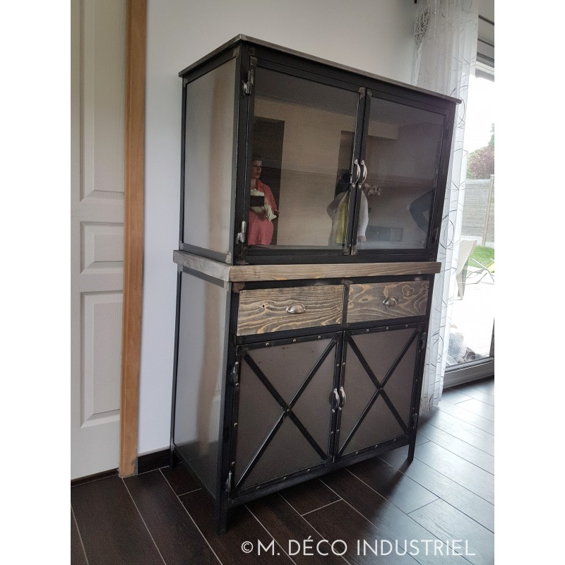 buffet haut industriel m tal bois et verre m d co industriel. Black Bedroom Furniture Sets. Home Design Ideas