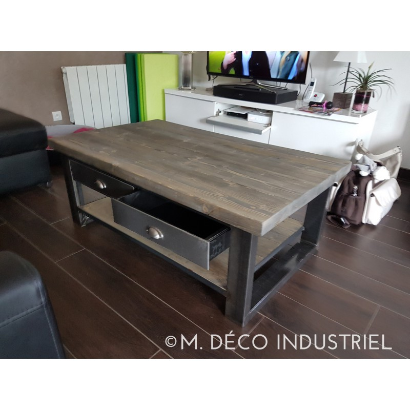 table basse bois et metal avec tiroir. Black Bedroom Furniture Sets. Home Design Ideas