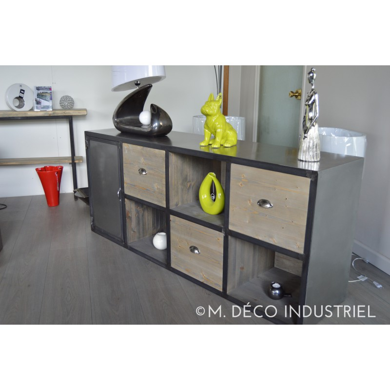 meuble bas industriel acier et tiroir bois massif m d co industriel. Black Bedroom Furniture Sets. Home Design Ideas