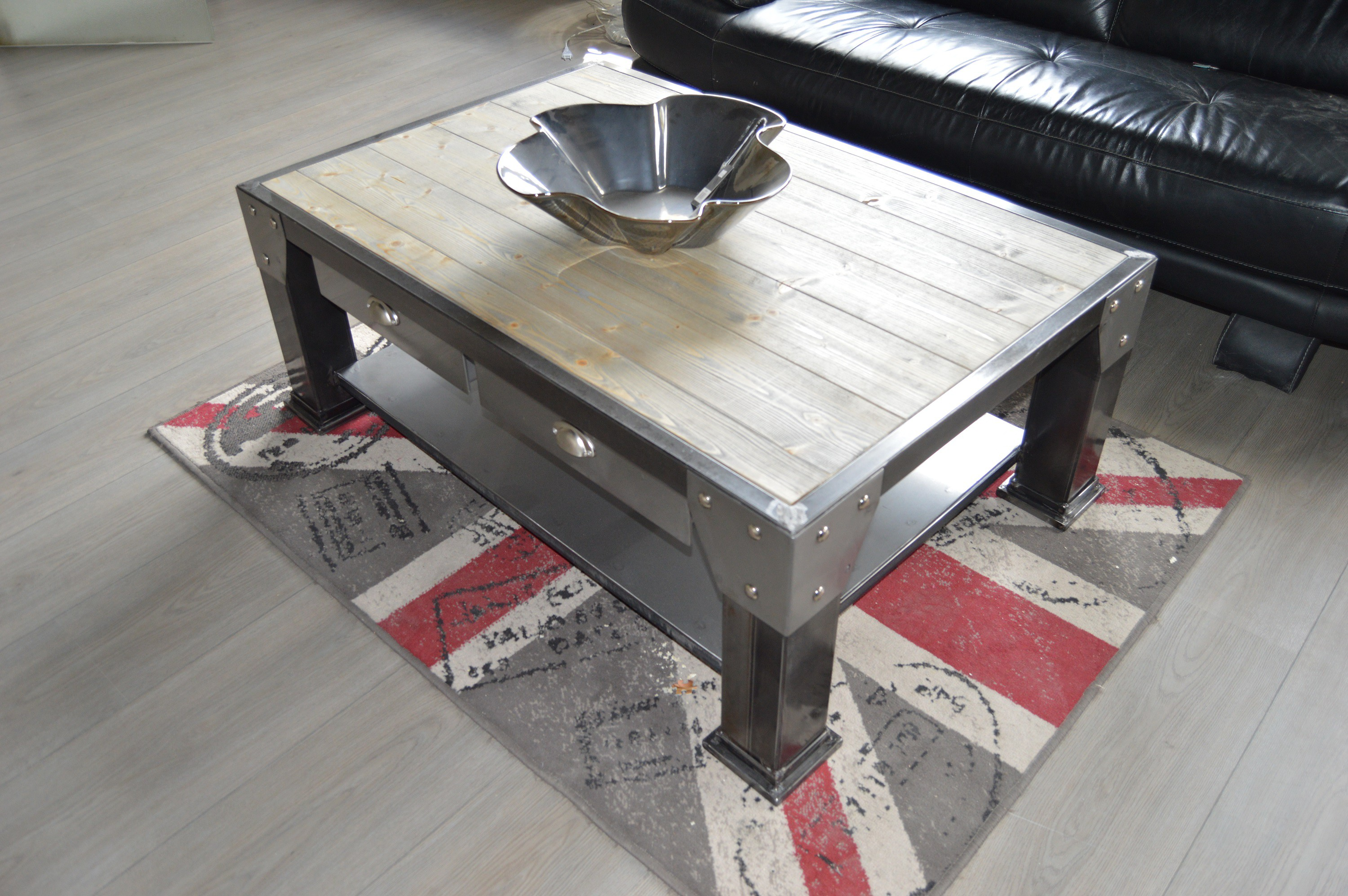 Table basse industriel for Table basse industrielle blanche
