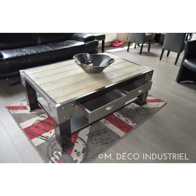 table basse industriel acier et bois avec tiroir acier m d co industriel. Black Bedroom Furniture Sets. Home Design Ideas