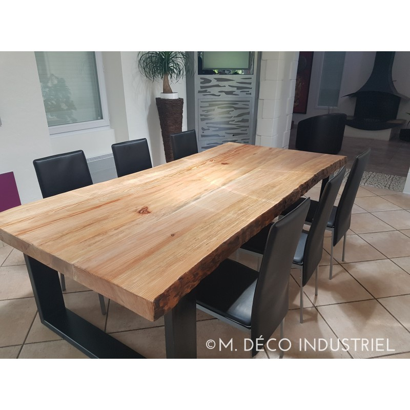 Meuble industriel table de salle manger en pin massif 8 for Table de salle a manger 2 main