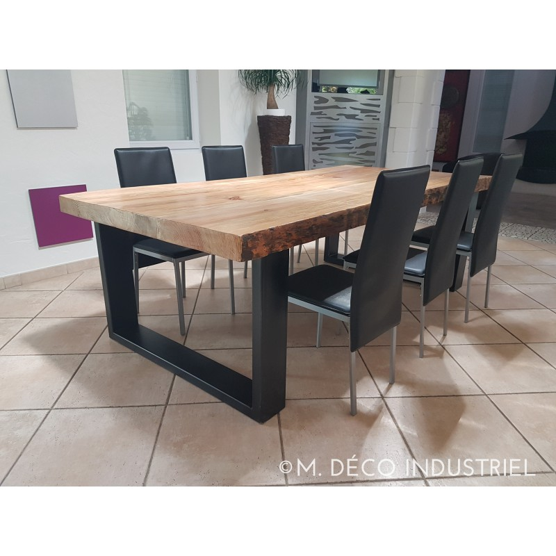 meuble industriel table de salle manger en pin massif 8 cm m d co industriel. Black Bedroom Furniture Sets. Home Design Ideas