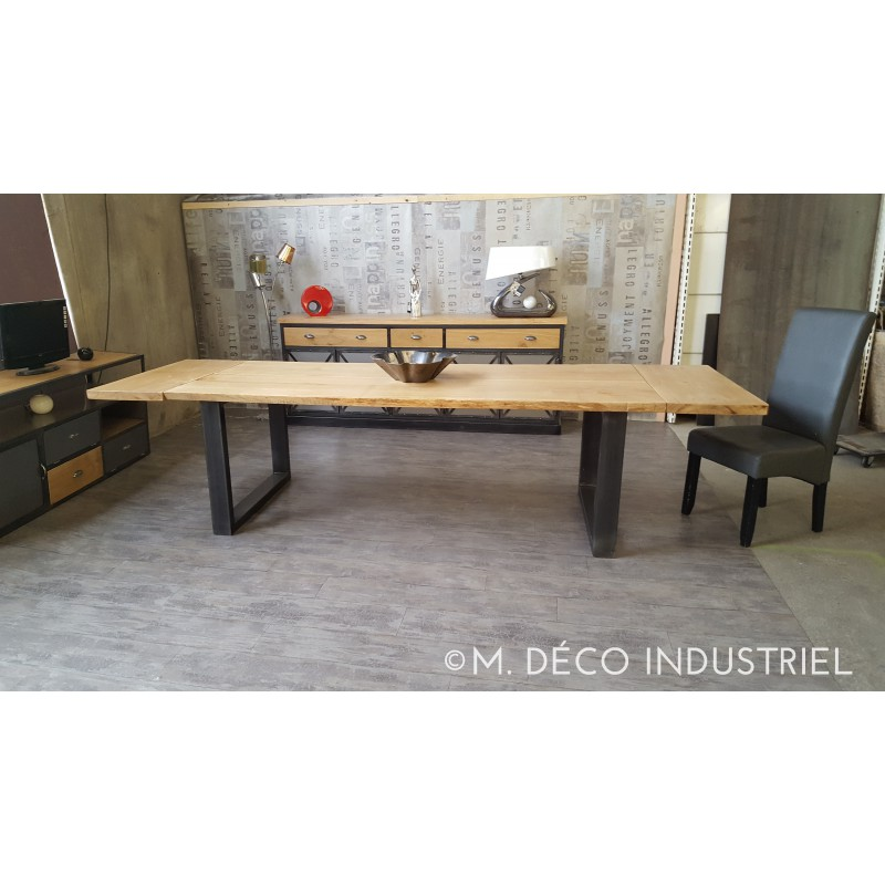 meuble industriel table de salle manger en ch ne massif m d co industriel. Black Bedroom Furniture Sets. Home Design Ideas