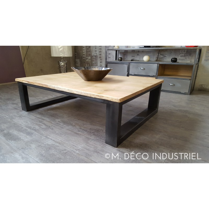 Meuble industriel table basse ch ne massif naturel m for Meuble facon industriel