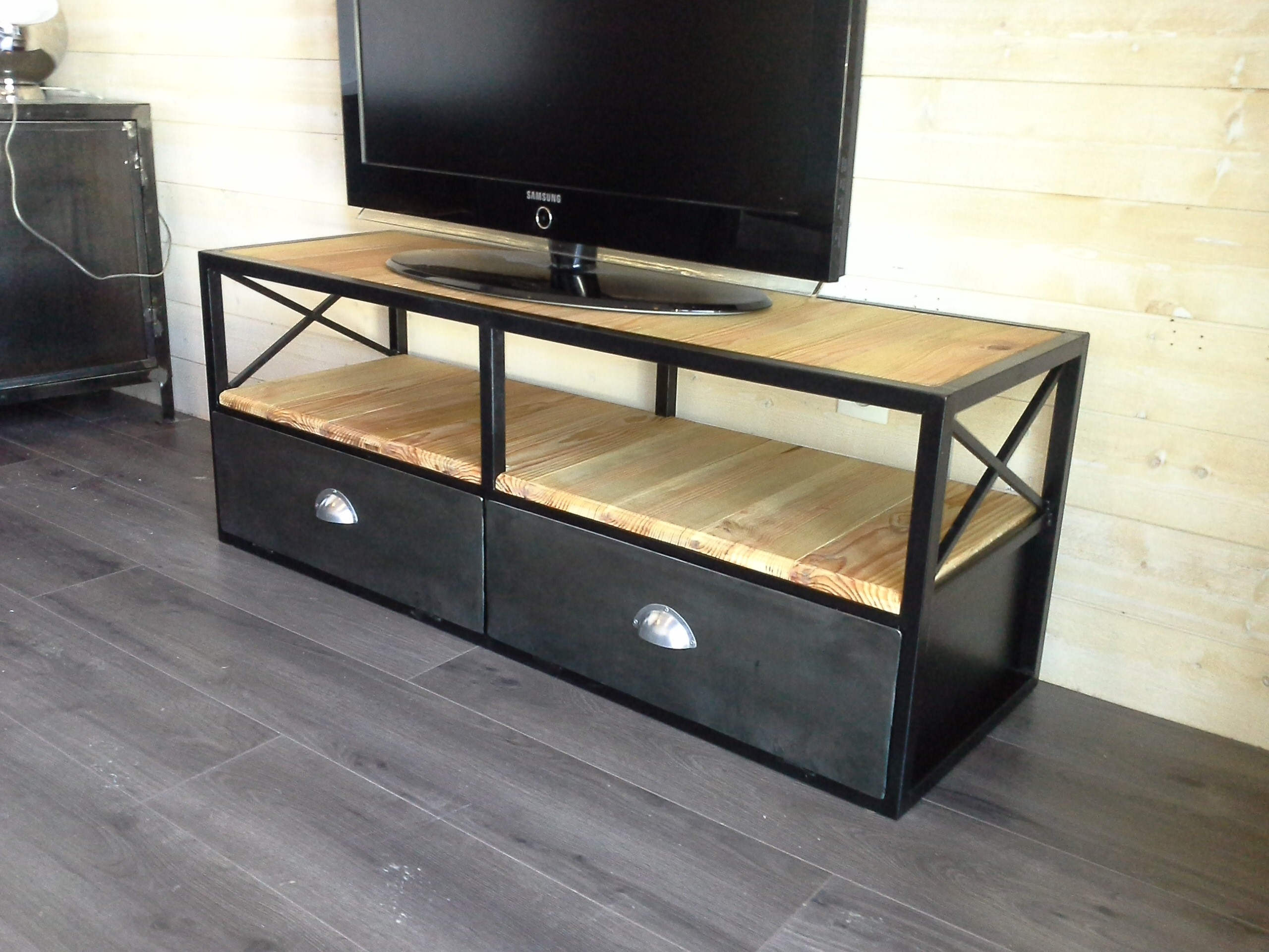 meuble tv metal et bois hoze home. Black Bedroom Furniture Sets. Home Design Ideas