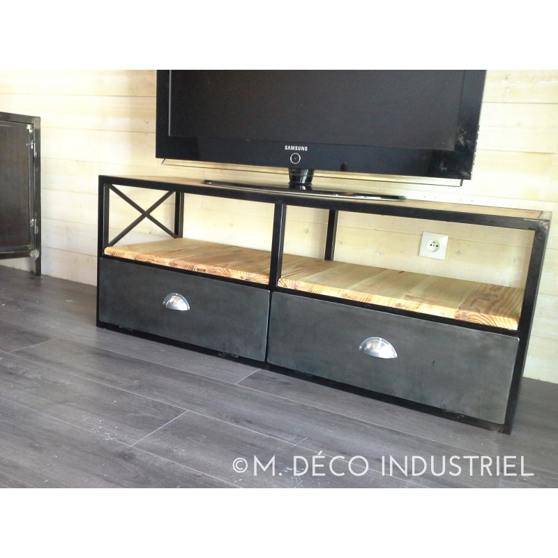 meuble tv bois et metal industriel bande transporteuse caoutchouc. Black Bedroom Furniture Sets. Home Design Ideas