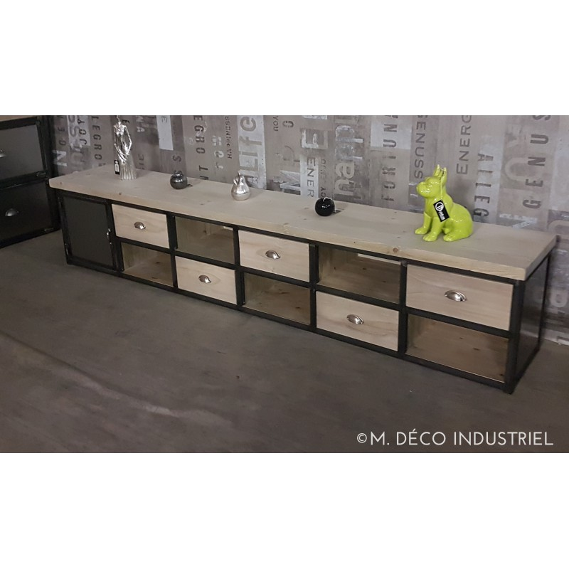 meuble industriel acier et bois 5 tiroirs m d co industriel. Black Bedroom Furniture Sets. Home Design Ideas