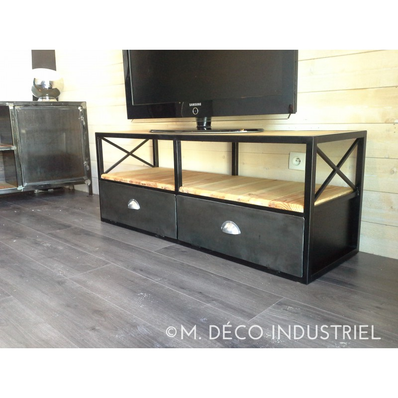 meuble tv bois metal. Black Bedroom Furniture Sets. Home Design Ideas