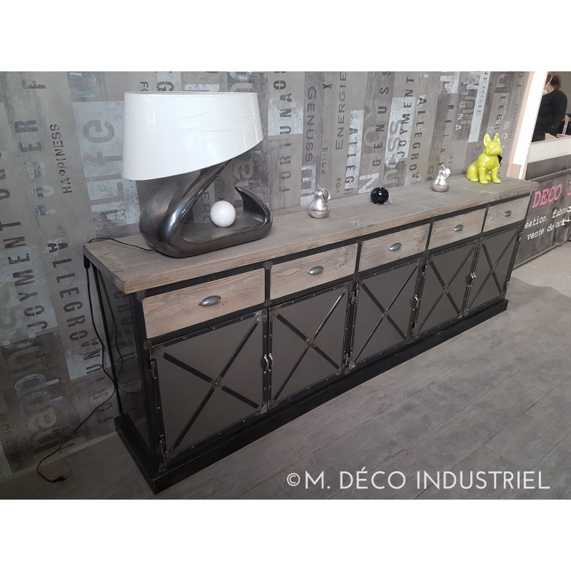 meuble industriel buffet 5 portes acier plateau en bois gris m d co industriel. Black Bedroom Furniture Sets. Home Design Ideas