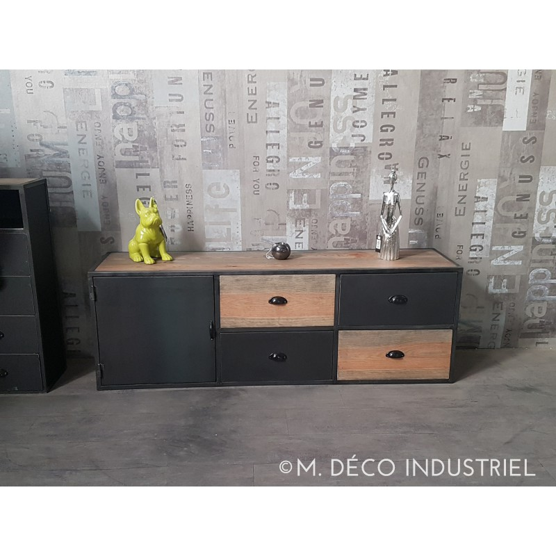meuble tv industriel acier et bois vintage m d co industriel. Black Bedroom Furniture Sets. Home Design Ideas