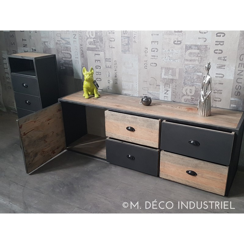 meuble tv acier et bois. Black Bedroom Furniture Sets. Home Design Ideas