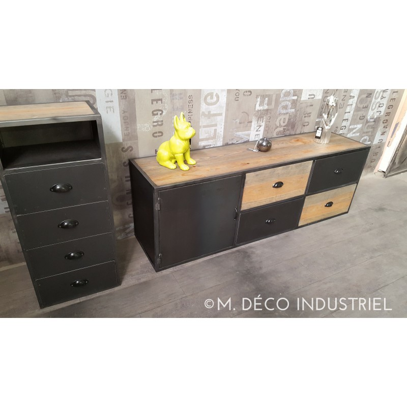 meuble tv industriel acier et bois vintage m d co. Black Bedroom Furniture Sets. Home Design Ideas