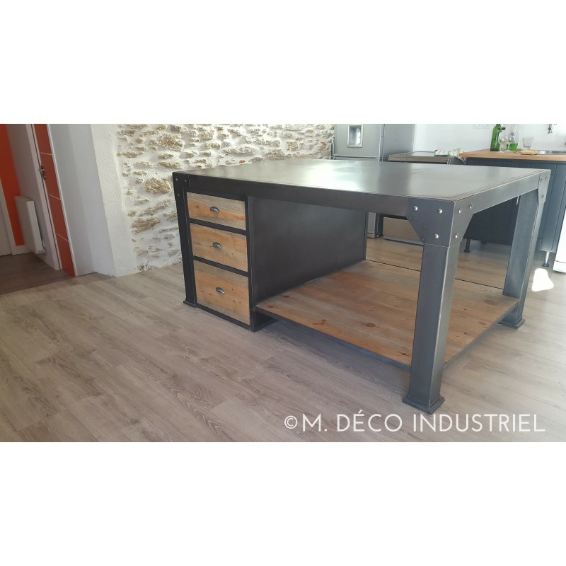lot de cuisine style industriel en acier m d co industriel. Black Bedroom Furniture Sets. Home Design Ideas