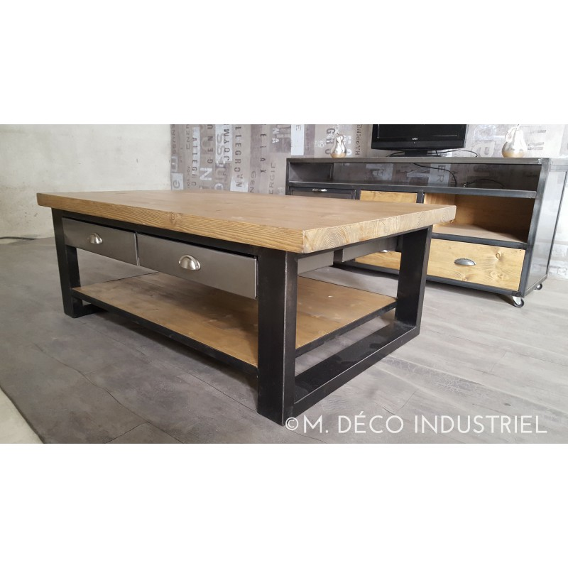 Table basse bois et metal avec tiroir for Table style industriel