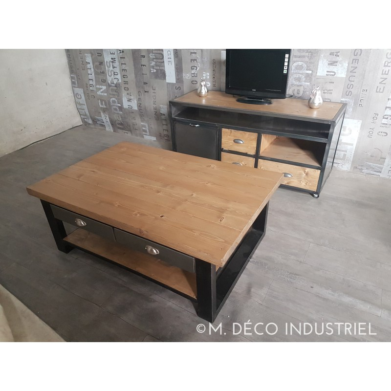 Pin table basse design industriel 4 tiroirs bois et fer - Table basse style industriel ...