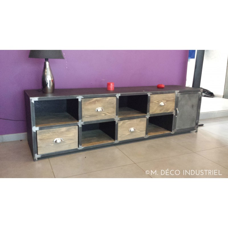 meuble industriel acier et bois m d co industriel. Black Bedroom Furniture Sets. Home Design Ideas