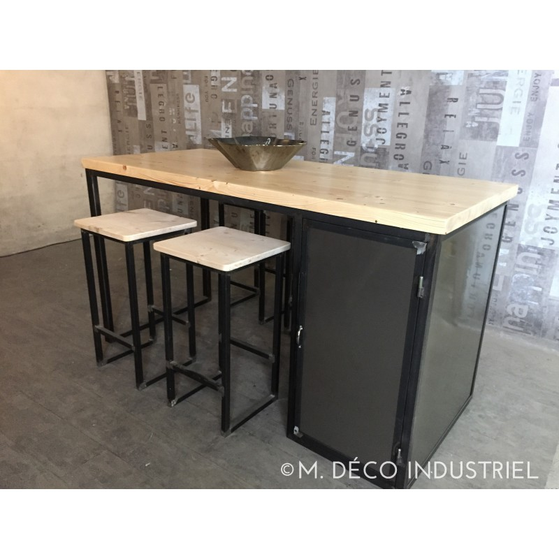 Meuble industriel lot centrale de cuisine sapin naturel m d co industriel - Meuble central cuisine ...