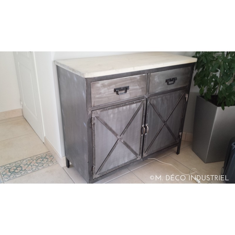 Meuble industriel buffet 2 portes acier m d co industriel for Meuble 2 portes