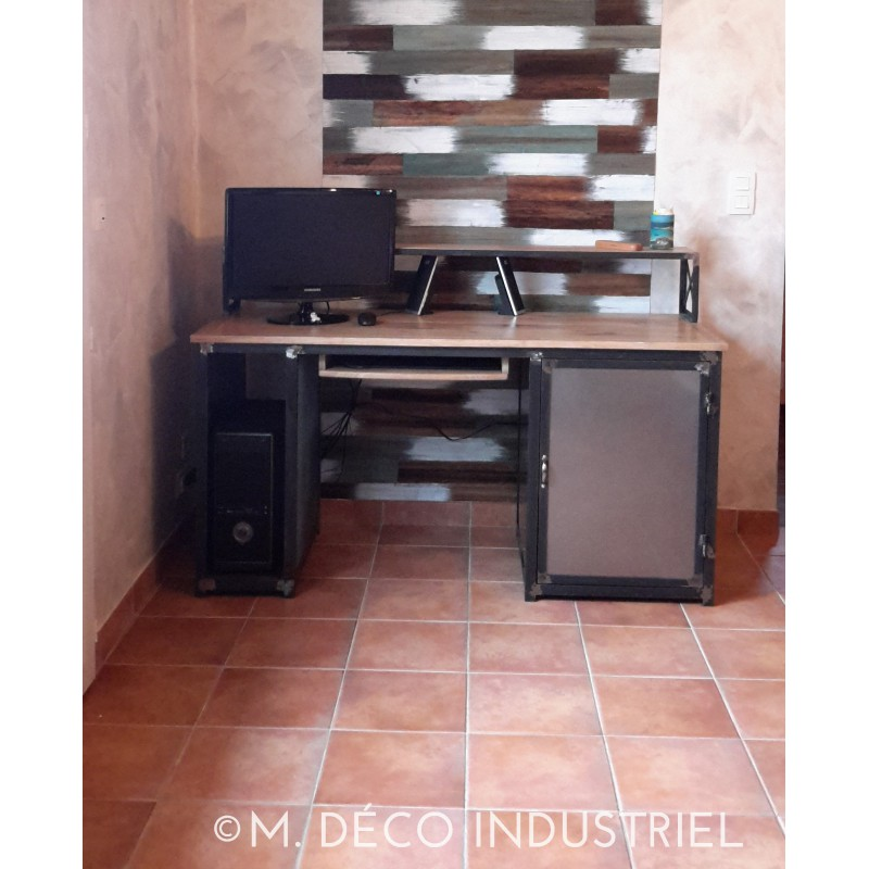 bureau style industriel ch ne massif 1 porte acier m. Black Bedroom Furniture Sets. Home Design Ideas