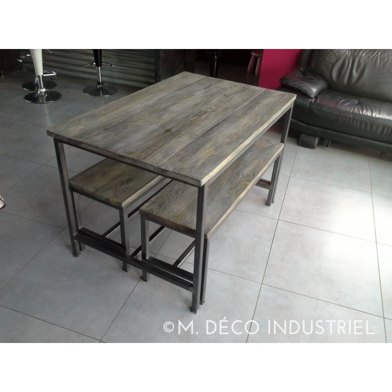 Meuble industriel table de salle manger banc m d co for Meuble table
