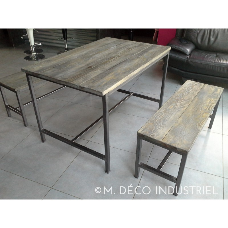 Meuble industriel table de salle manger banc m d co for Meuble table a manger
