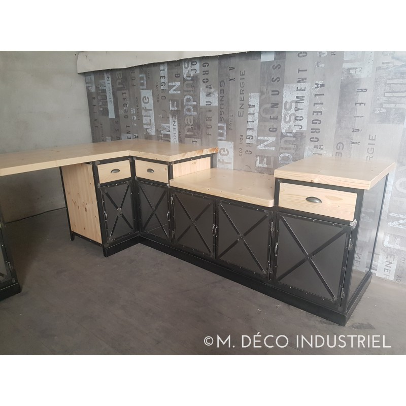 cuisine de style industriel acier et bois massif m d co industriel. Black Bedroom Furniture Sets. Home Design Ideas