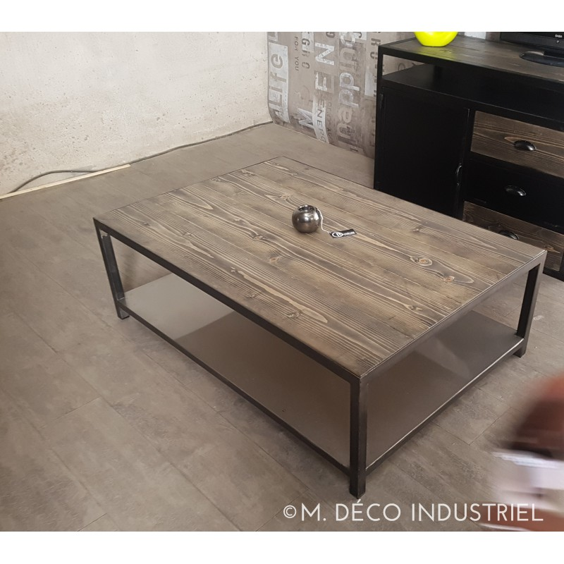 meuble industriel table basse acier en sapin massif gris m d co industriel. Black Bedroom Furniture Sets. Home Design Ideas