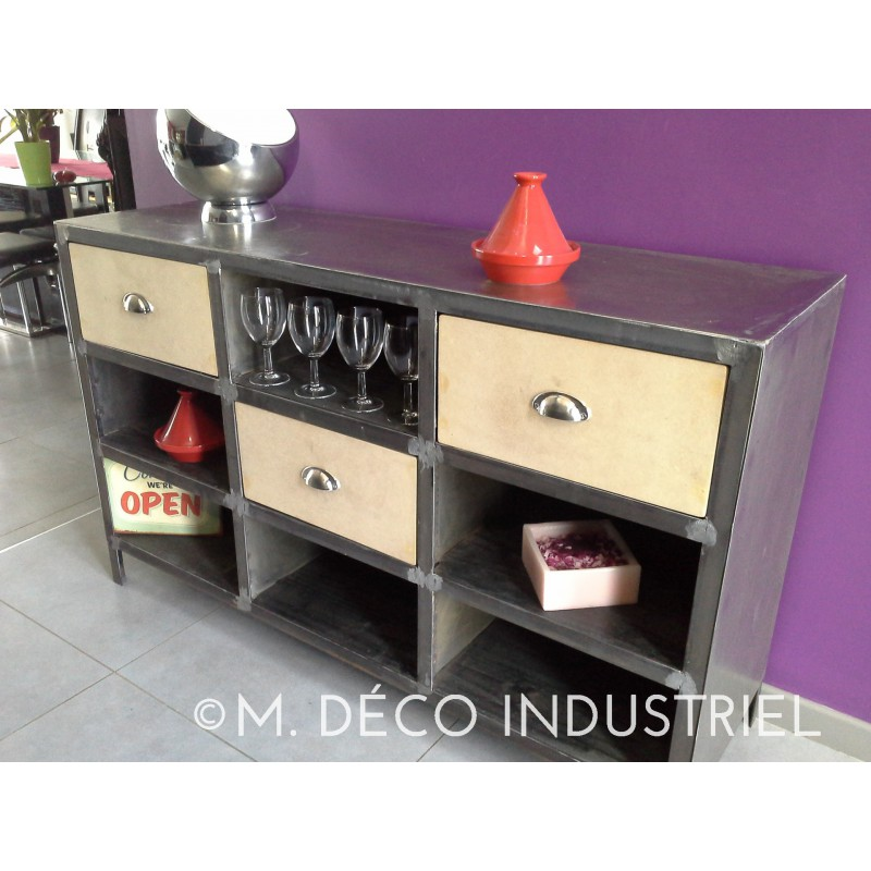 meuble industriel buffet vintage acier m d co industriel. Black Bedroom Furniture Sets. Home Design Ideas