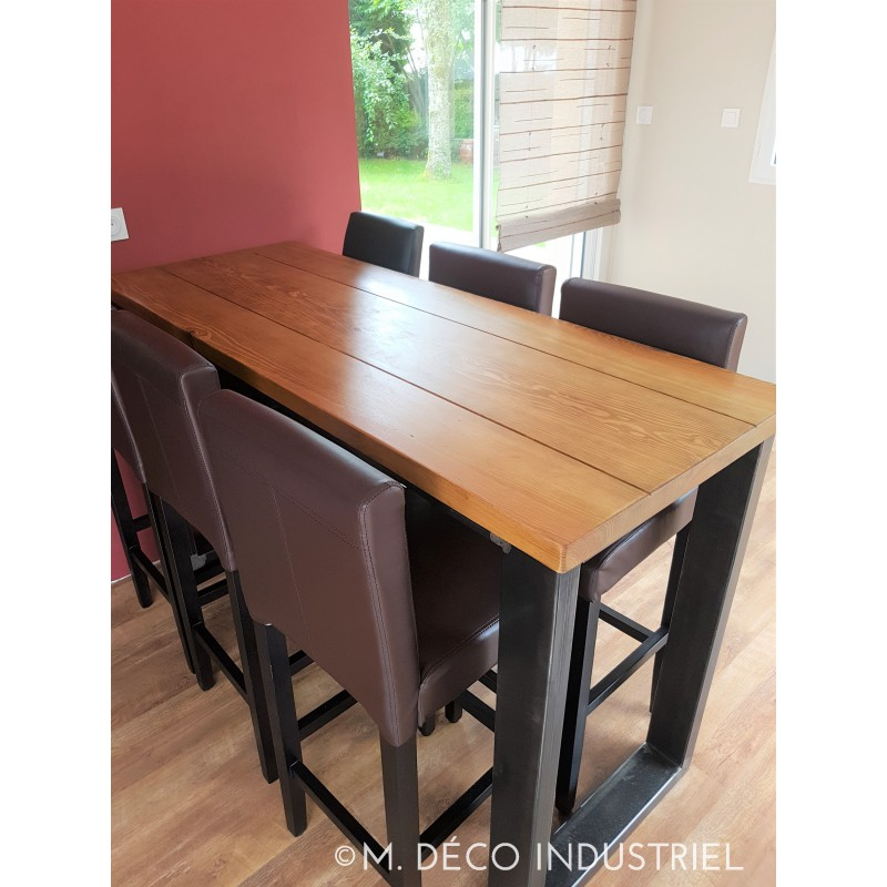table mange debout style industriel acier et sapin massif. Black Bedroom Furniture Sets. Home Design Ideas
