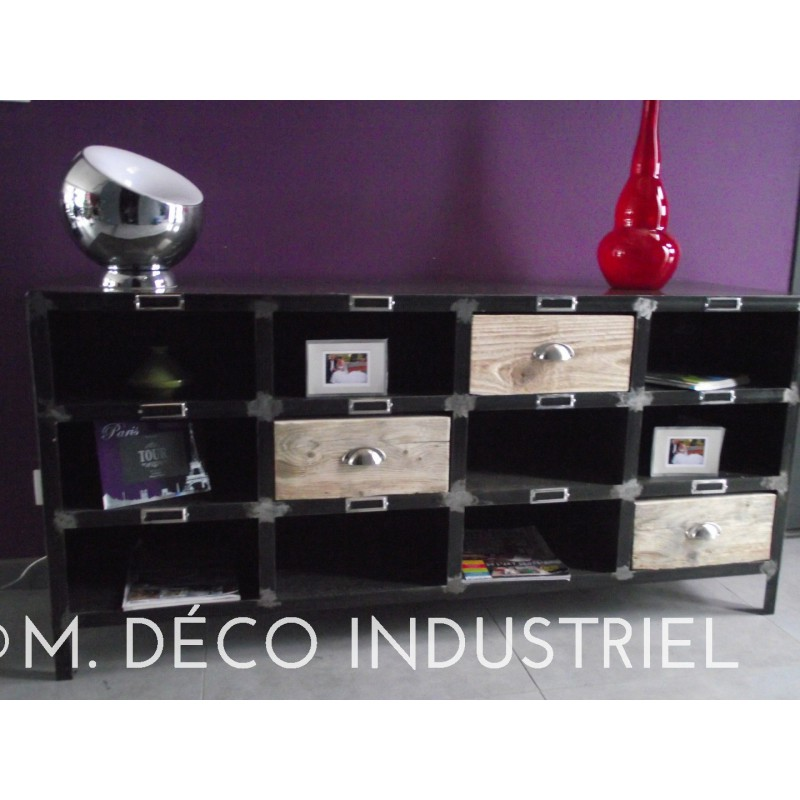 meuble industriel en acier tiroirs bois m d co industriel. Black Bedroom Furniture Sets. Home Design Ideas