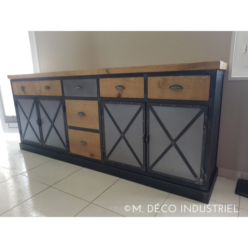 buffet industriel en ch ne massif 4 portes acier 5 tiroirs. Black Bedroom Furniture Sets. Home Design Ideas