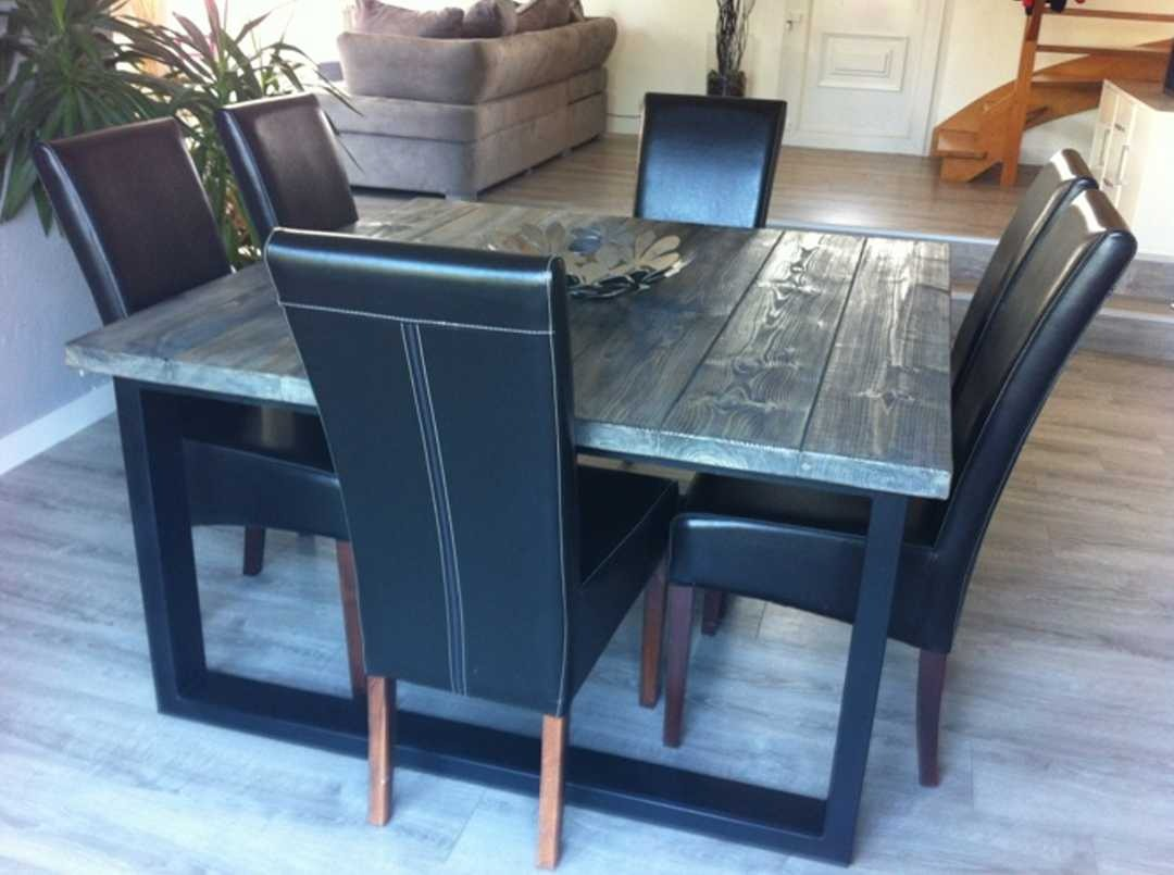 table a manger style industriel. Black Bedroom Furniture Sets. Home Design Ideas