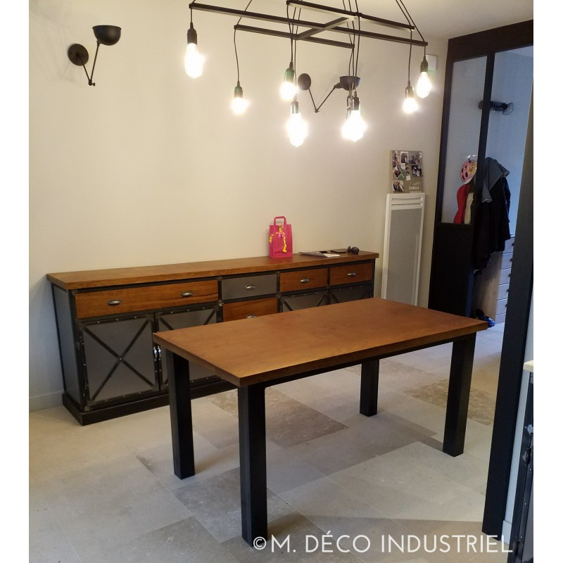 table de salle manger en ch ne massif fonc style industriel m d co industriel. Black Bedroom Furniture Sets. Home Design Ideas