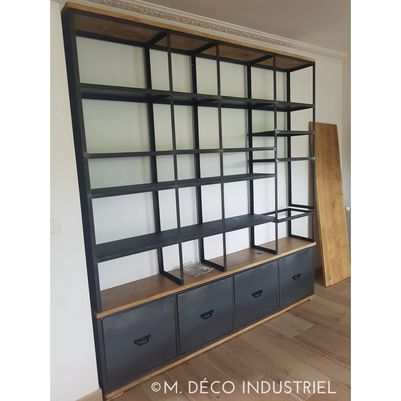 biblioth que style industriel en bois et acier. Black Bedroom Furniture Sets. Home Design Ideas