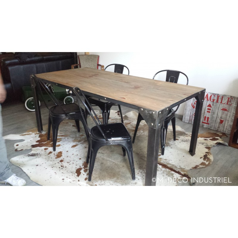 Table manger industrielle acier et bois madison zoom - Table a manger industrielle ...
