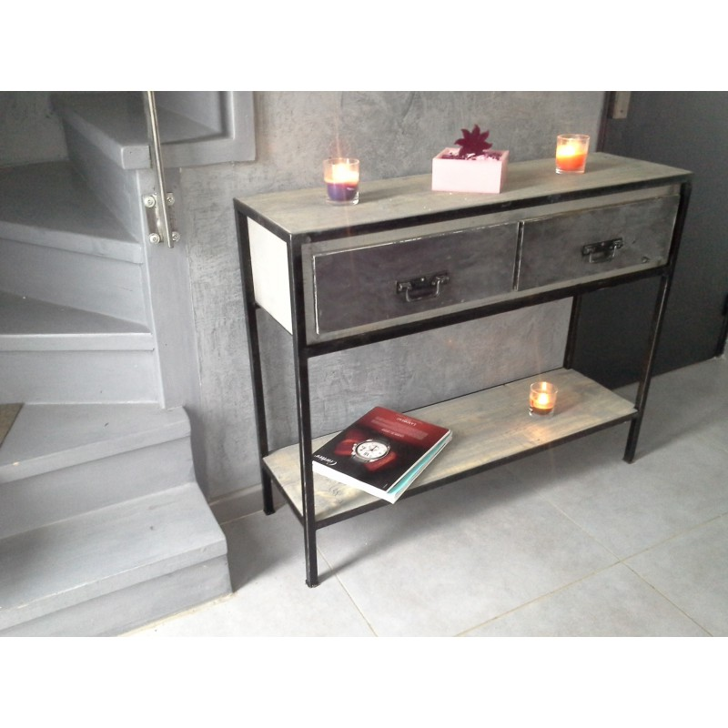 console industriel acier et 2 tiroirs en bois massif m d co industriel. Black Bedroom Furniture Sets. Home Design Ideas
